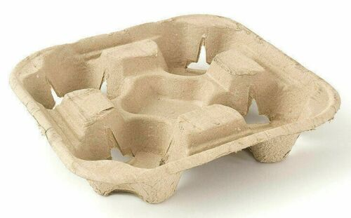 4 Cup Drink Cup Carriers, Cup Holders, Cup Carry Trays Biodegradable Pulp 300 ct