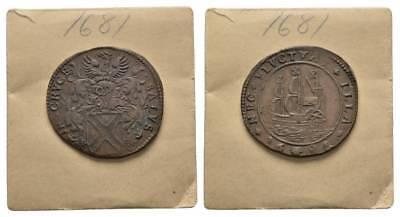 Holland Mittelalter, Niederlande Rechenpfennig 1681 Schiff/ Wappenadler, Rar !!