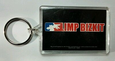 AS-IS LIMP BIZKIT RED WHITE BLUE WRITING BLACK BAND KEY CHAIN KEYCHAIN