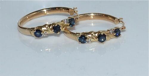 Vintage 14 Kt Yellow Gold Sapphire Diamond Pierced Hoop Earrings 3.3 Gms
