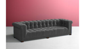 Anthropologie Gray Charcoal Kettleby Sofa 116in Chesterfield