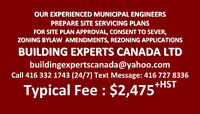 SITE SERVICING PLAN / DRAWINGS for SITE PLAN APPROVAL