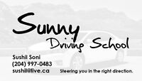 Sunny Driving School for class 5 lessons in Winnipeg