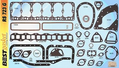Hudson Hornet 308 Big Six/6 Full Engine Gasket Set/Kit BEST Head+Oil Pan 1955-56