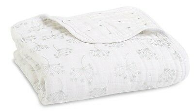Aden & Anais Classic Dream Plush Baby Blanket Metallic Silver Deco Dandelion NEW