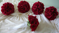 5 Small Red Rose Bridesmaids Wedding Bouquet Flowers.