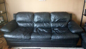 Black leather couch & loveseat
