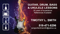 Guitar, Drum, Bass & Ukulele Lessons... In Your Home!