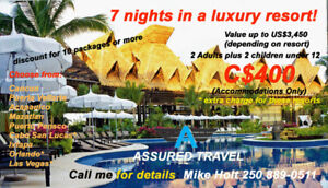 7 nights for 2 people at a 4 star resort for $400!
