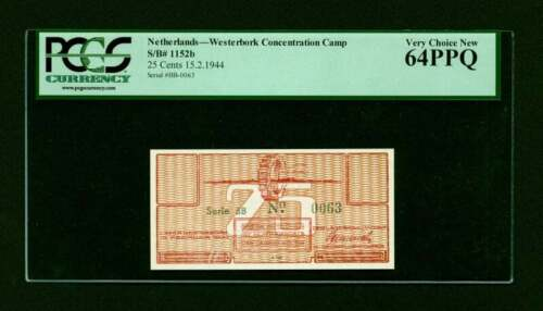 Rare Netherlands Westerbork 25 Cents Camp Concentration Bill Note PCGS 64 PPQ
