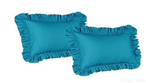 2 Piece King Size Ruffled Shams Solid Turquoise Cover Case D
