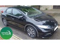 £223.01 PER MONTH BLACK 2013 HONDA CIVIC 1.6 I-DTEC EX NAV 5 DOOR DIESEL MANUAL