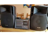 Powered PA mixer with speakers