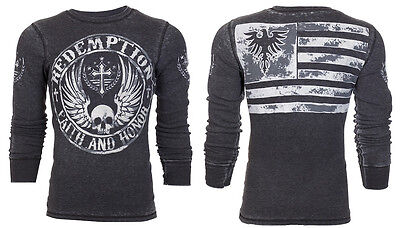 Flag Thermal Shirt - ARCHAIC by AFFLICTION Mens THERMAL T-Shirt CROSSED DEATH Biker USA Flag UFC $58