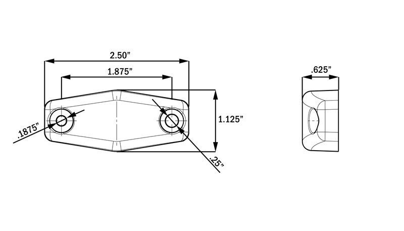 Submersible Trailer Rectangle LED Light kit, Stop Turn