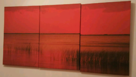 SET OF 3 LARGE RED ABSTRACT CANVASES