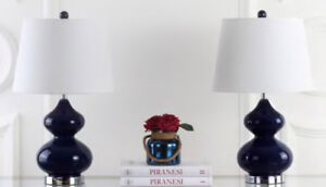 "WHAT A DEAL - Set of 2 - 24"" glass table lamps (Navy blue base)"