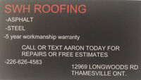 SWH roofing. 226-626-4583
