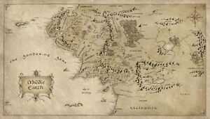 Map of Middle Earth Lord Of The Rings Silk Cloth Poster 43 x 24
