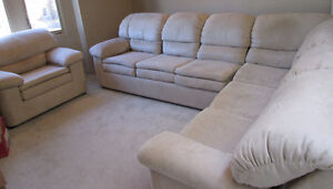 L-shape sofa bed with matching chair