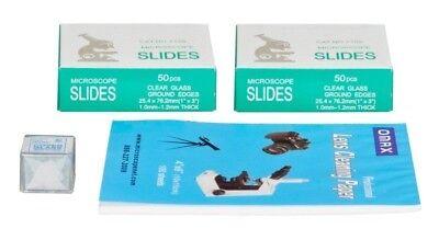 100 Blank Glass Microscope Slidescover Slipslens Cleaning Paper