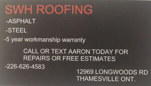 SWH roofing 226-626-4583