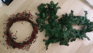 Berry wreath with green garland
