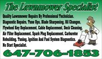 QUALITY LAWN MOWER REPAIR. NO START SPECIALIST. BLADE SHARPENING