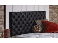 Black 6ft super king faux leather buttoned headboard
