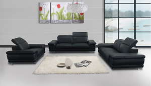 HOMETOWN---- Modern Leather Look 3PC Sofa Set