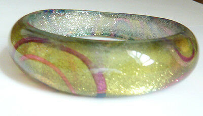 Lucite Bangle Swirl Yellow Glitter Swirl Woman Round Fashion Gift , used for sale  Ontario