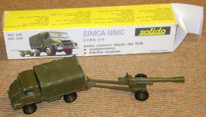 Solido diecast set with Simca 4x4, 105 mm howitzer & repro box