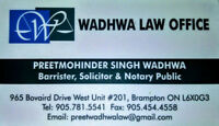 LAW OFFICE. Ph: 905-781-5541