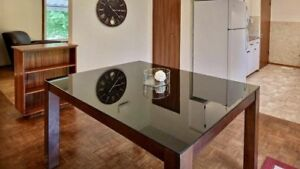 Gorgeous espresso wood and glass dining room table