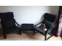 1x black ikea armchair and one footstool