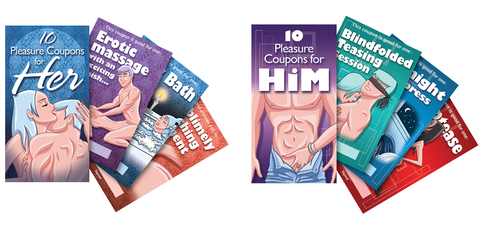 PLEASURE COUPONS for HIM HER adult gag gift sex joke valenti