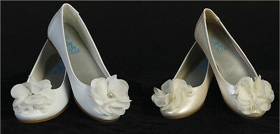 New Kids Youth Girls Dress Ivory White Shoes Flats Wedding Party Pageant - Girls Ivory Flats