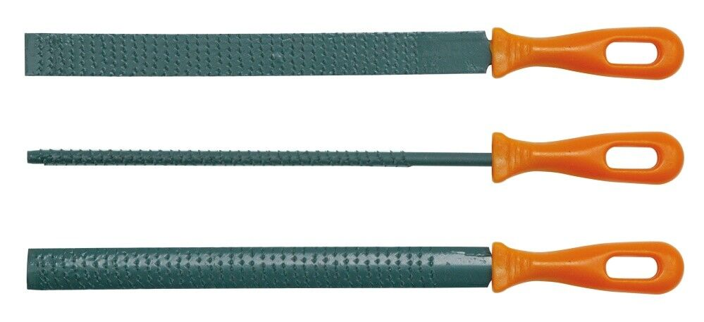 Holzraspelsatz 3 tlg Raspel flach, rund, halbrund Holzfeile Feile 200mm