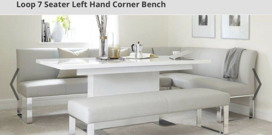 Danetti Left Hand Loop Cool Grey 7 seater Dining Bench RRP£900