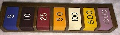 FARO Lammer Button Rack - Antique 7 Hole Single Row Casino Gambling Poker Craps