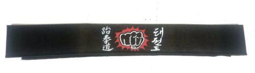 "Vintage Punching Fist Headband Karate Kung-Fu Martial Arts  46"" Long Black"