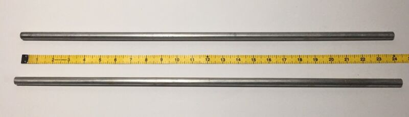 """Two 24"""" Vintage Aluminum Science Lab 2 Stand Support Rods 1/2"""""""