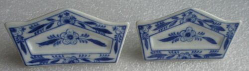 Pair White Blue Porcelain Ceramic Floral Name Card Place Holders More Available