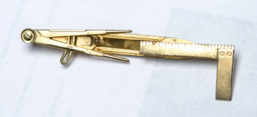 Mason Masonic Tie Bar Clip compass & ruler Vintage Collectible