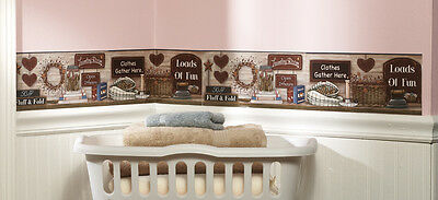 Country Primitive Laundry Wall Border Decals Heart Stars Folk Art Berries -