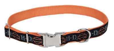 Harley-Davidson Adjustable Designer Ribbon Premium Dog Collar - Black & Orange