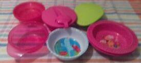 Selection of children's dishes Nine items in total. Includes two Pooh bear dishes, Igglepiggle etc.