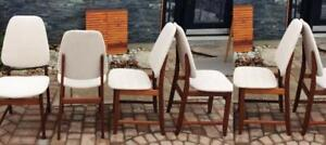 6 Danish Mid-Century Modern Teak shield back dining chairs REFINISHED REUPHOLSTERED $250 each