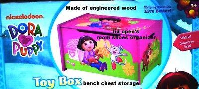 Dora Toy Box - DORA EXPLORER~GIRL~WOODEN BENCH CHEST~LID TOY BOX~BEDROOM SHOE STORAGE ORGANIZER