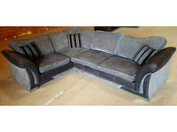Corner Sofa - Grey/Black. Can deliver